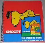 Snoopy peering over edge of book '1981' Snoopy Week by Week Calendar