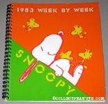Snoopy Laying down gathering Woodstocks 1983 Week by Week Calendar