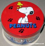 Snoopy with Woodstock on his nose Tin Canister