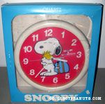Snoopy hugging Woodstock with luggage Wall Clock