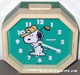Snoopy golfing Octagon Alarm Clock