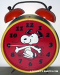 Snoopy dancing with Peanuts Gang in background Large Alarm Clock - Red, Yellow & Orange