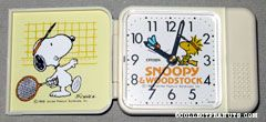 Snoopy & Woodstock playing badmitton Travel Alarm Clock