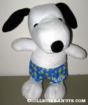 Snoopy wearing flowered swim trunks Plush