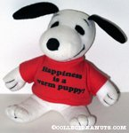 Snoopy wearing 'Happiness is a warm puppy' t-shirt Plush