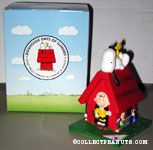 Snoopy on doghouse with Peanuts gang around base Figurine