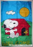 Snoopy & Woodstock outside doghouse 'Welcome' Flag