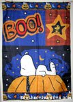 Snoopy laying on Pumpkin with Woodstock 'Boo!' Flag