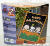 Snoopy, Linus and Charlie Brown in pumpkin patch 'Happy Halloween' Flag