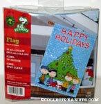 Peanuts gang around Christmas Tree 'Happy Holidays' Flag