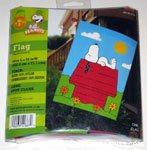 Snoopy laying on doghouse Flag