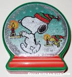 Snoopy and Woodstock holding Candles Christmas Candy Box