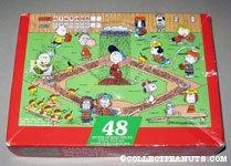 Peanuts playing Baseball