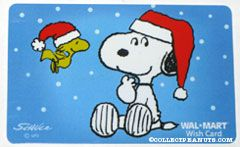Snoopy & Woodstock wearing Santa hats Walmart Gift Card