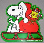 Santa Snoopy on sled with gifts Gift Trim