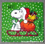 Santa Snoopy & Woodstock on sled Gift Tag