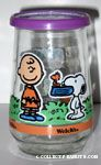 Snoopy with Dogdish in his Mouth Jelly Jar Glass
