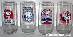 Snoopy for President glass
