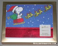 Snoopy driving sleigh drawn by Woodstocks Christmas Cards