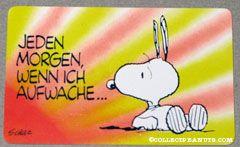 Snoopy laying on back surprised 'Jeden morgen wenn ich aufwache... kommst du mir als erstes in den sinn!' Wallet Greeting Card