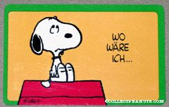 Snoopy sitting on doghouse 'Wo ware ich... ohne dich!' Wallet Greeting Card