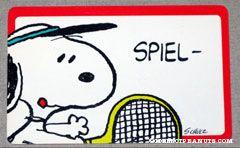 Snoopy playing tennis 'Spiel - Satz und sieg! su hast mein herz gewonnen!' German Wallet Greeting Card