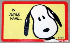 Snoopy portrait 'In deiner nahe... fuhle ich mich hemmungslos' German Wallet Greeting Card