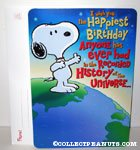 Snoopy standing on planet 'Happiest Birthday anyone has ever had in the recorded history of the universe' Card