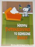 Snoopy & Woodstock pilgrims with pie 'Happy Thanksgiving to someone sweet' Hallmark Card