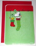 Snoopy & Woodstock in stockings 'Love you' Card