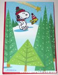 Snoopy & Woodstock shooting star in forest Christmas Card