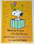 Snoopy & Woodstock in gift box Birthday Greeting Card