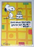 Snoopy with cake 'Brother' Birthday Greeting Card