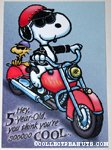 Snoopy & Woodstock on motorcycle Birthday Greeting Card