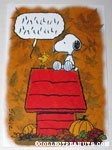 Woodstock talking on doghouse with Snoopy Greeting Card