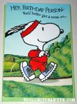 Snoopy jogging Birthday Greeting Card