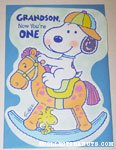 Baby Snoopy & Woodstock on Rocking Horse Birthday Greeting Card