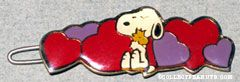 Snoopy hugging Woodstock on heart background Barrette