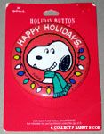 Snoopy wearing scarf surrounded by lights 'Happy Holidays' Button