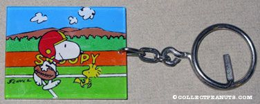 Snoopy & Woodstock playing Football Keychain