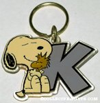 Snoopy hugging Woodstock with Letter K Keychain