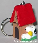 Snoopy and Woodstock next to doghouse Keychain