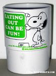 Snoopy with bone in his mouth 'Eating out can be fun!' Cup