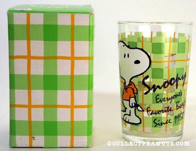 Snoopy wearing hoodie on plaid background Glass