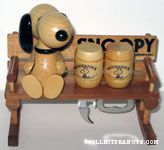 Snoopy sitting on rocking bench with Woodstock barrel Bottle Openers