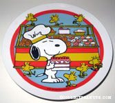 Chef Snoopy in Cake Shop with Woodstocks Melamine Cake Stand Plate
