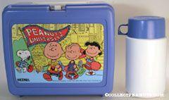 Peanuts Gang walking outside school 'Peanuts University' Blue Lunch Box