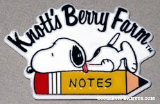 Snoopy lying on top of pencil Knott's Berry Farm Magnet