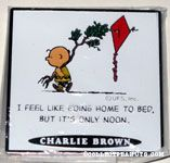 Charlie Brown with a kite tree 'I feel like going home to bed, but it's only noon.' Magnet