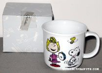 Sally with tamborine, Snoopy & Woodstock dancing Mug